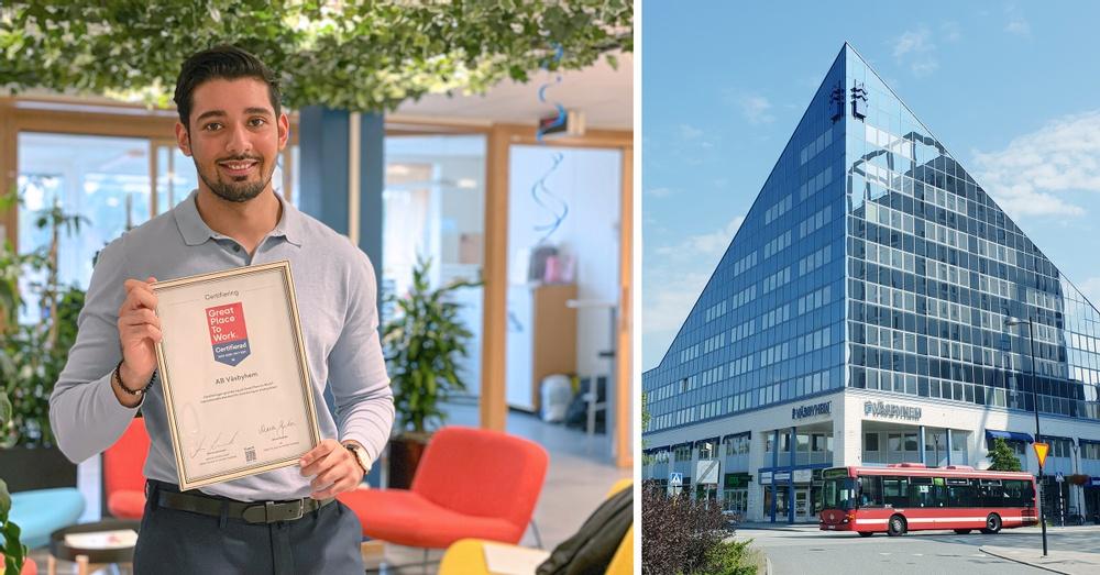 Till Vänster: Väsbyhems HR-ansvarig Harminder Mankoo håller stolt upp certifikatet från Greats Place to Work. Till höger: Väsbyhems kontor på Centralvägen.