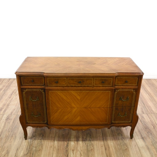 Antique Burl Wood Marquetry Dresser