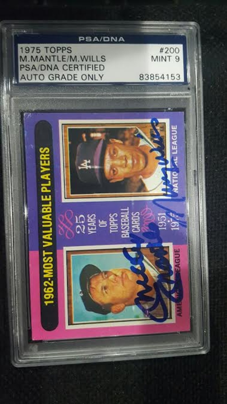 Mickey Mantle Signed Card 1975 Topps With Maury Wills Collectionzz