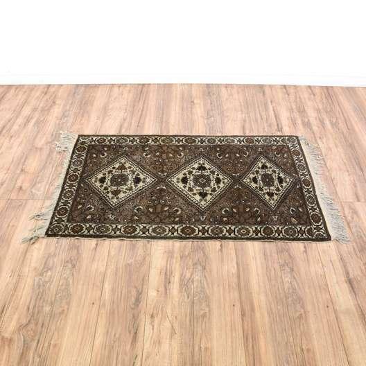 Brown Floral Diamond Persian Rug