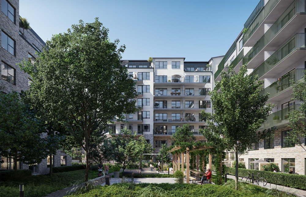 Bild framtagen av Zynka BIM. Berglund Arkitekter har ritat husen.