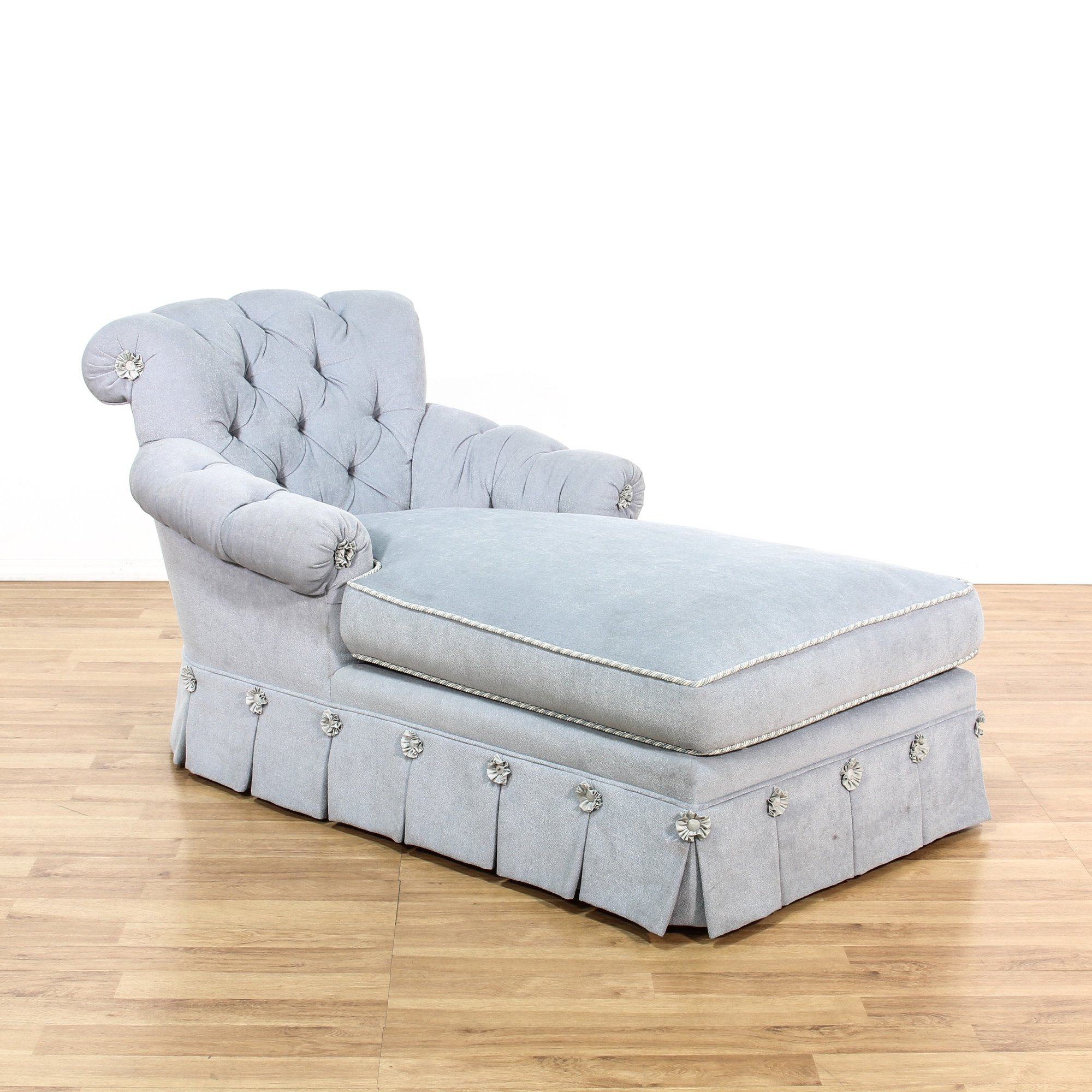 Cottage Chic Light Blue Tufted Chaise Lounge Loveseat