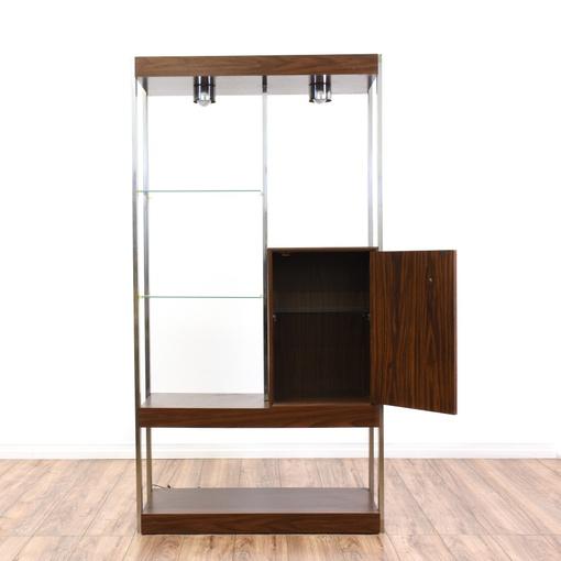 Mid century modern wall unit bookcase bar display for Modern wall bar unit