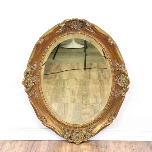 Carved Gold Beveled Edge Oval Mirror