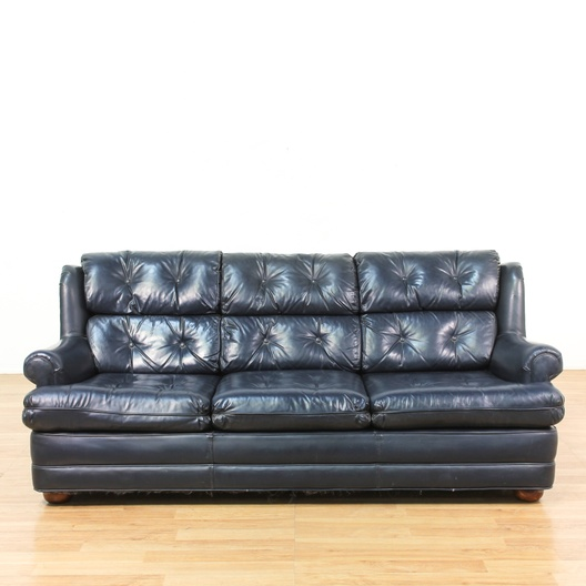 Leather Sofas In Los Angeles: Blue Tufted Back Mid Century Leather Sofa