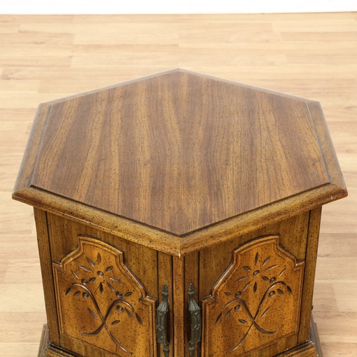 Carved Walnut Hexagon End Table Cabinet Loveseat Vintage