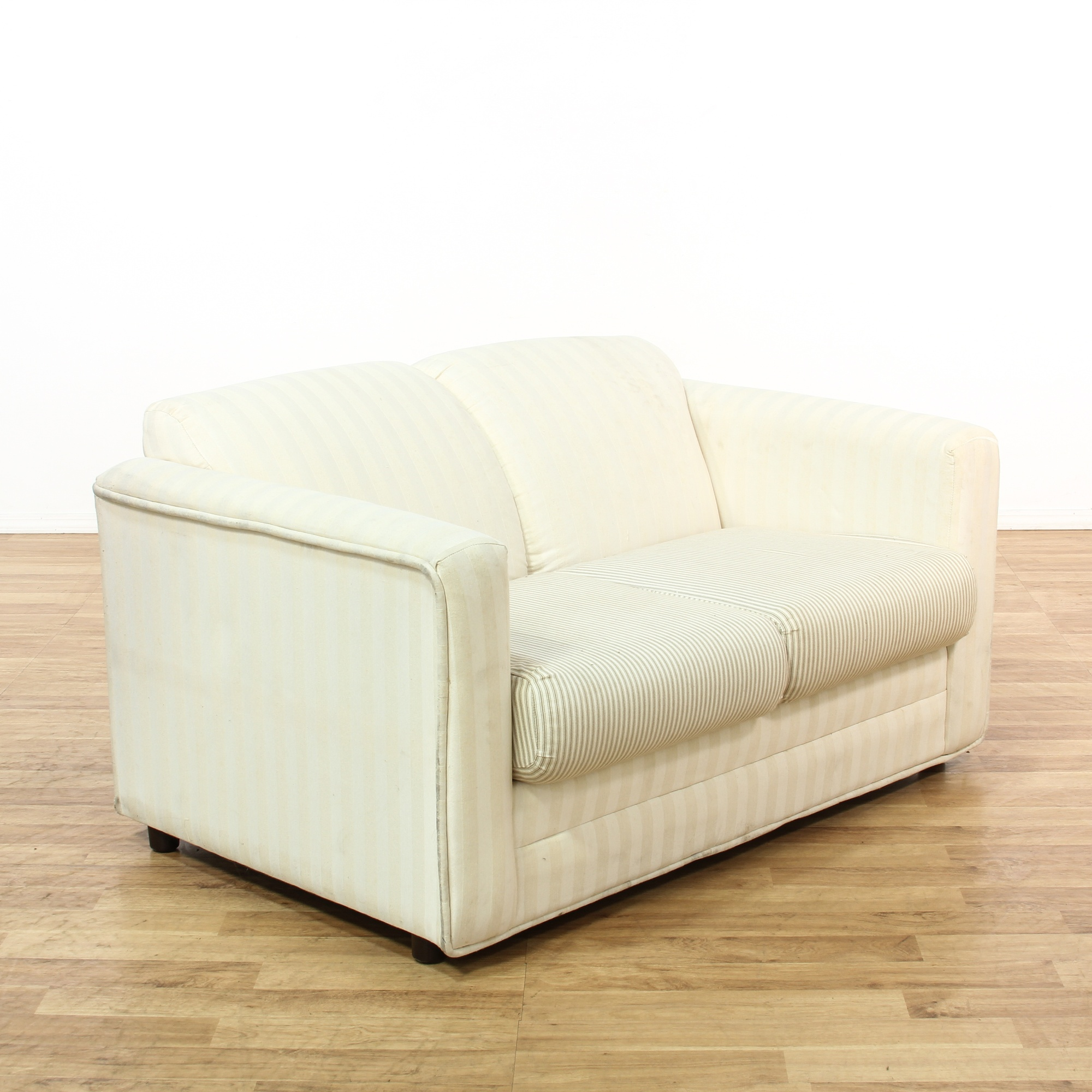White Striped Upholstered Loveseat Loveseat Vintage Furniture San Diego Los Angeles
