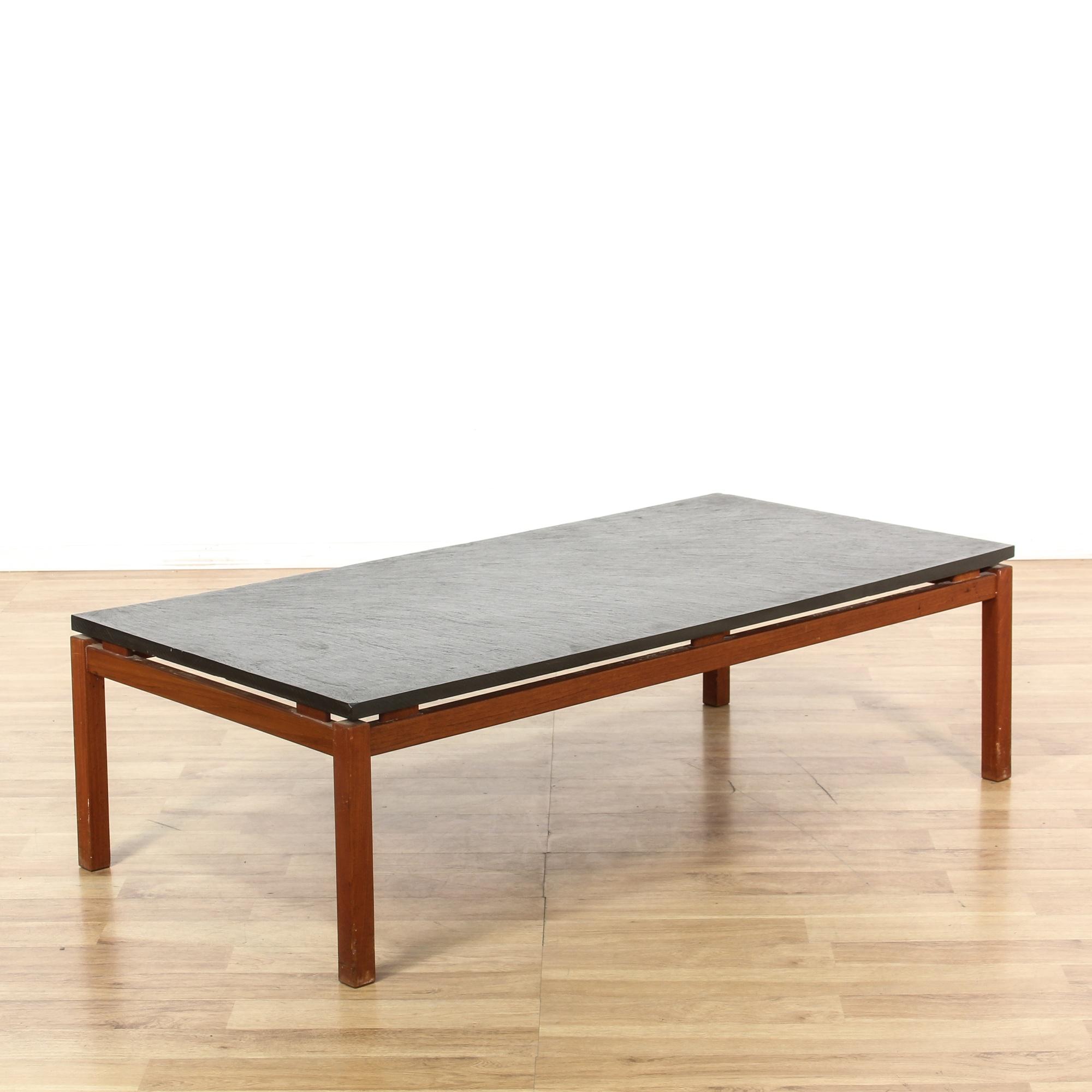 Mid Century Modern Teak Slate Top Coffee Table Loveseat Vintage Furniture San Diego Los Angeles