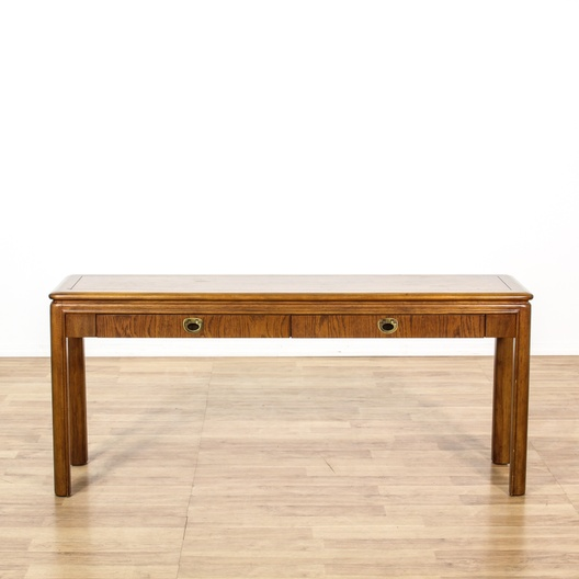 Drexel Oak Campaign Style Console Sofa Table Loveseat Los Angeles