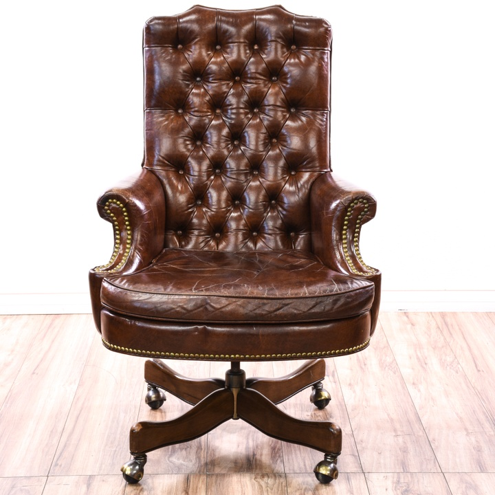 Tufted Brown Leather Studded Executive Chair Loveseat