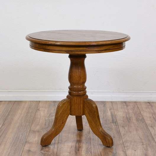 Round Carved Pedestal Side Table