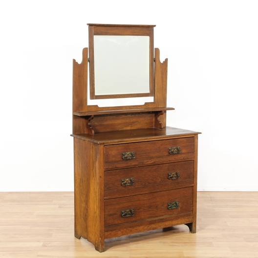 Next - Antique Oak Vanity Dresser & Mirror Loveseat Vintage Furniture Los