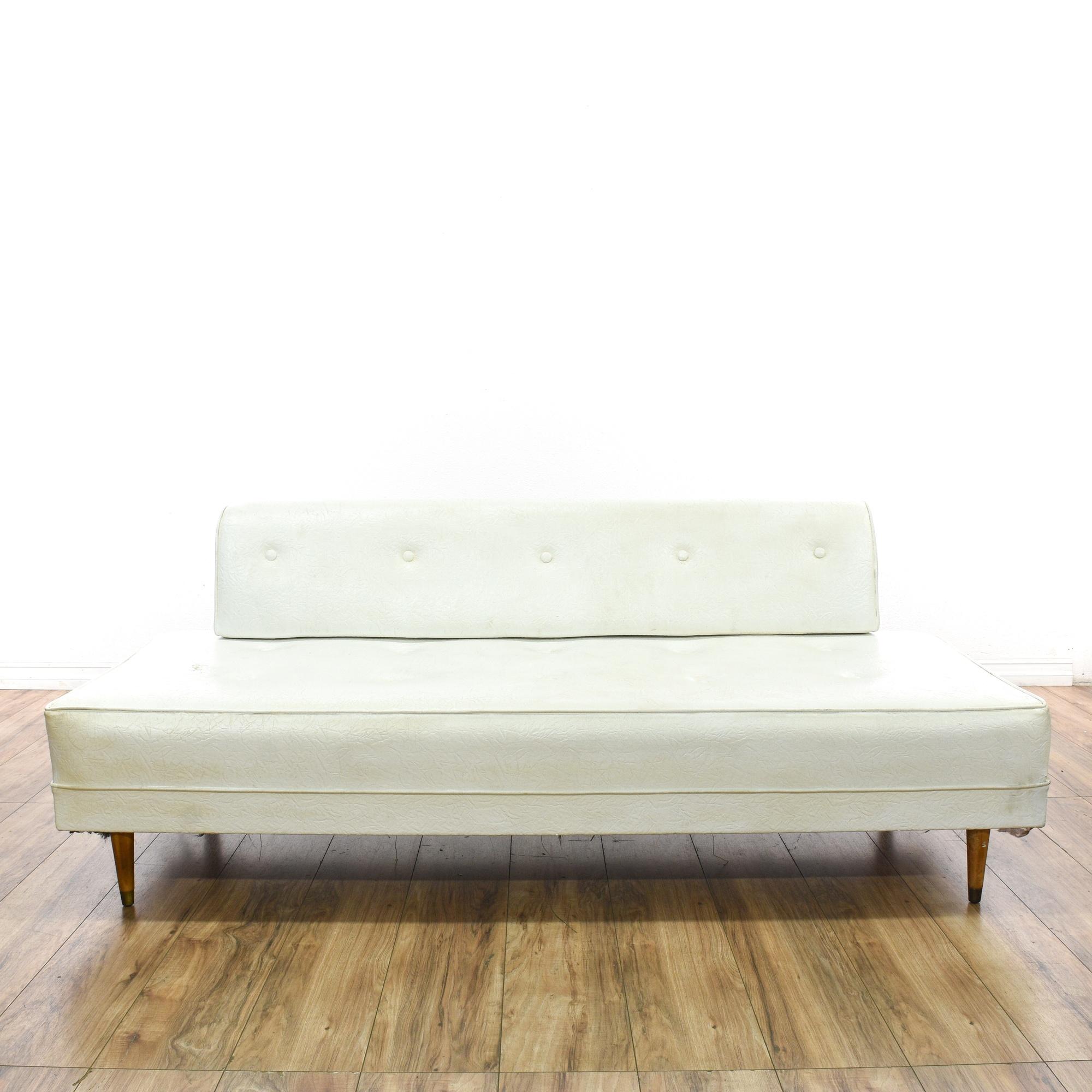 Mid Century Modern White Vinyl Daybed Sofa | Loveseat Vintage Furniture San  Diego