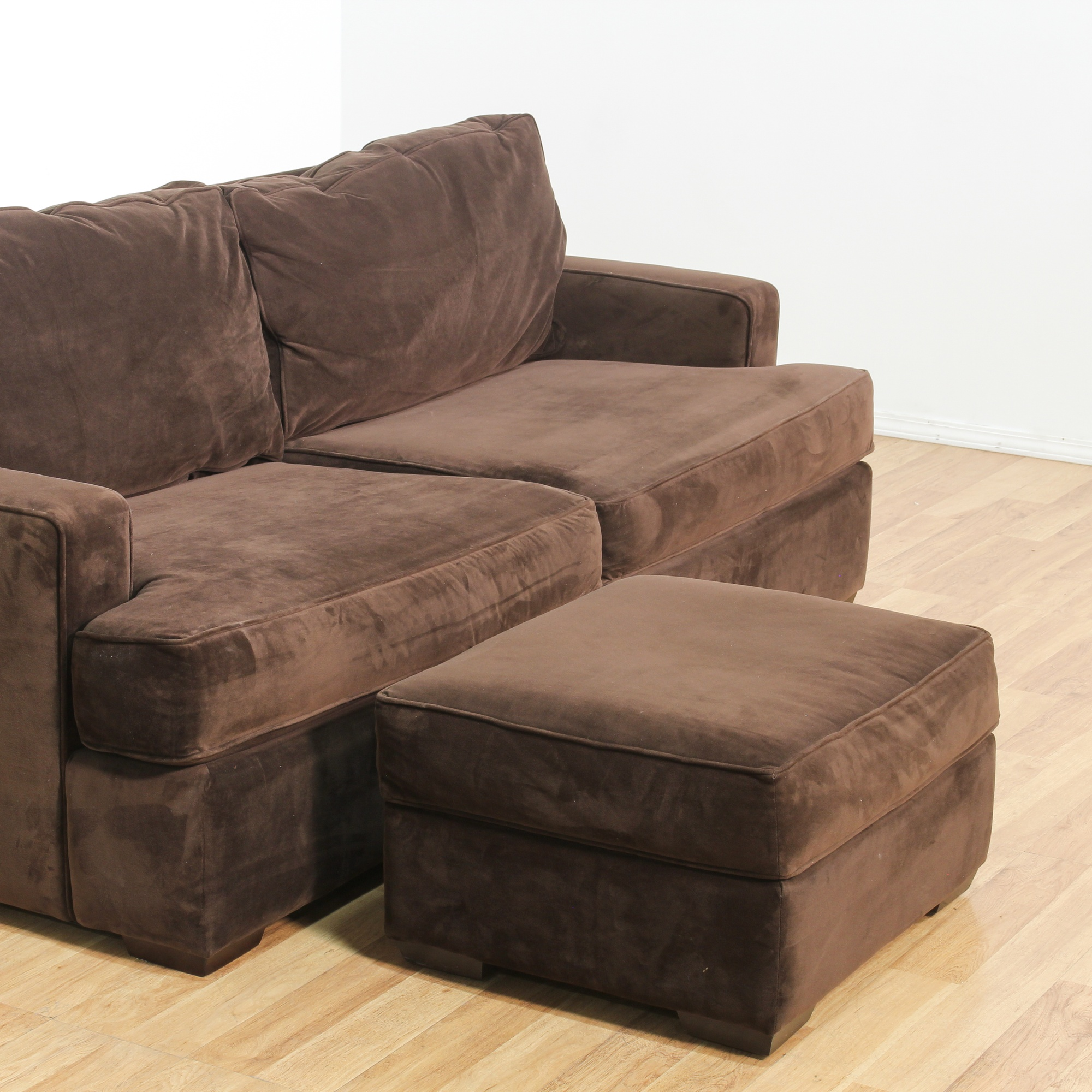 Brown Upholstered Contemporary Loveseat Sofa