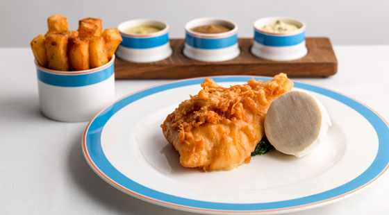 Battered turbot and chips