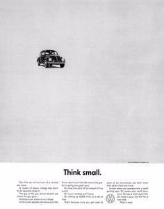 volkswagon think small ad