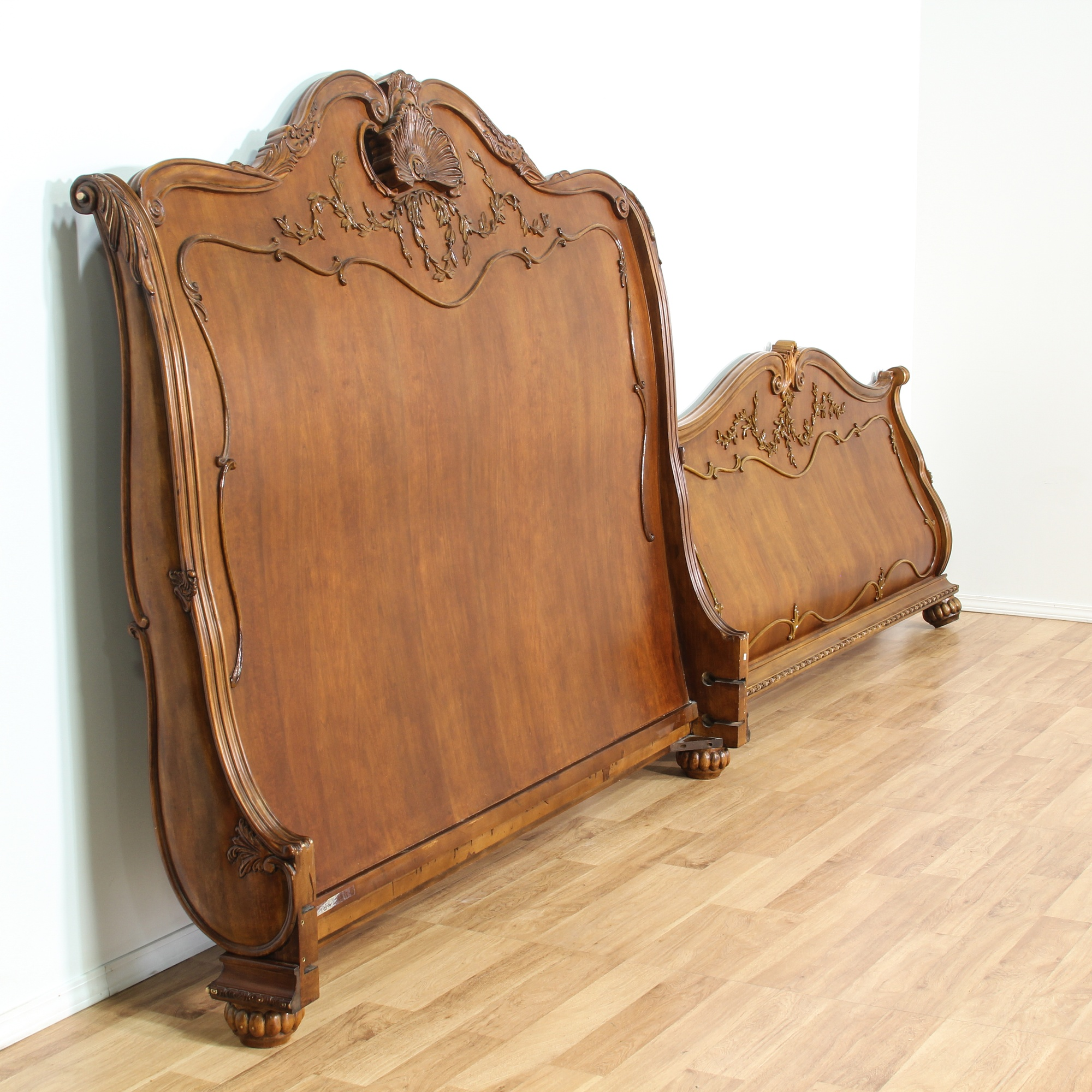 Ornate Carved Wood King Sized Sleigh Bed Frame Loveseat