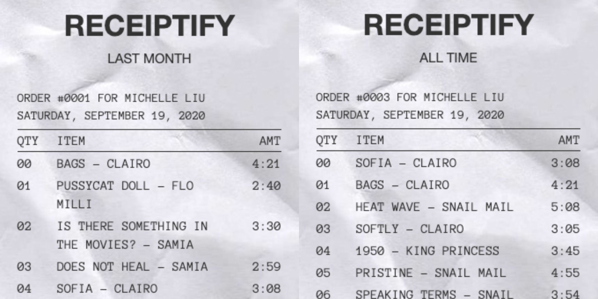Receiptify turns your top tracks on Spotify into shopping receipts