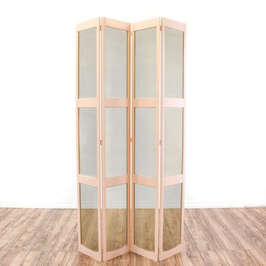 Pale Pink Cottage Chic Folding Room Divider Screen