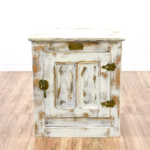 """""""White Clad"""" Shabby Chic Cabinet End Table"""