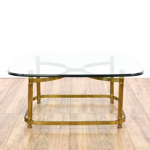 Regency Style Brass Glass Coffee Table Loveseat Vintage Furniture San Diego Los Angeles