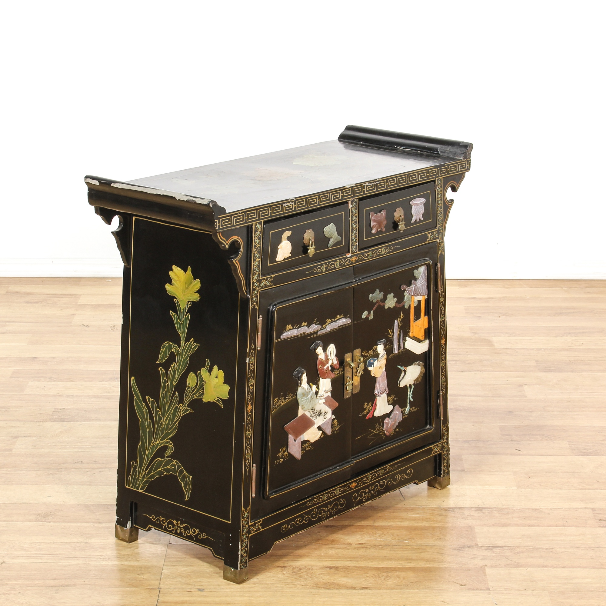 Asian black lacquered soapstone inlay cabinet loveseat for Oriental furniture los angeles
