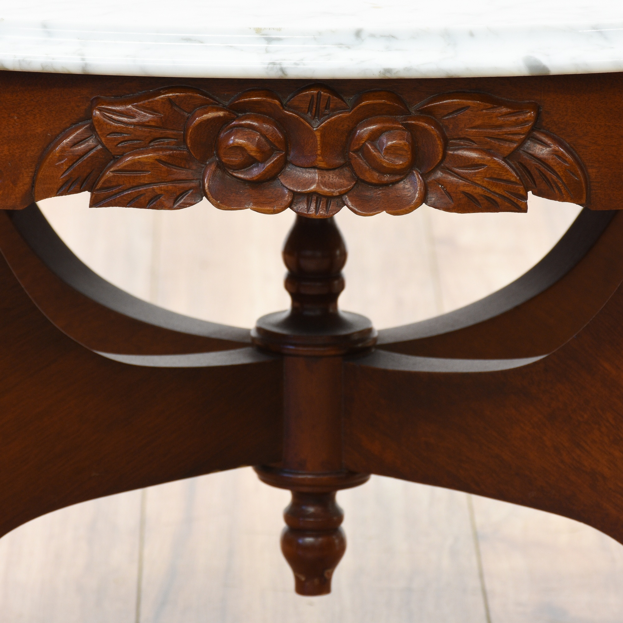 Victorian Marble Coffee Table: Victorian Cherry Carved Marble Top Coffee Table
