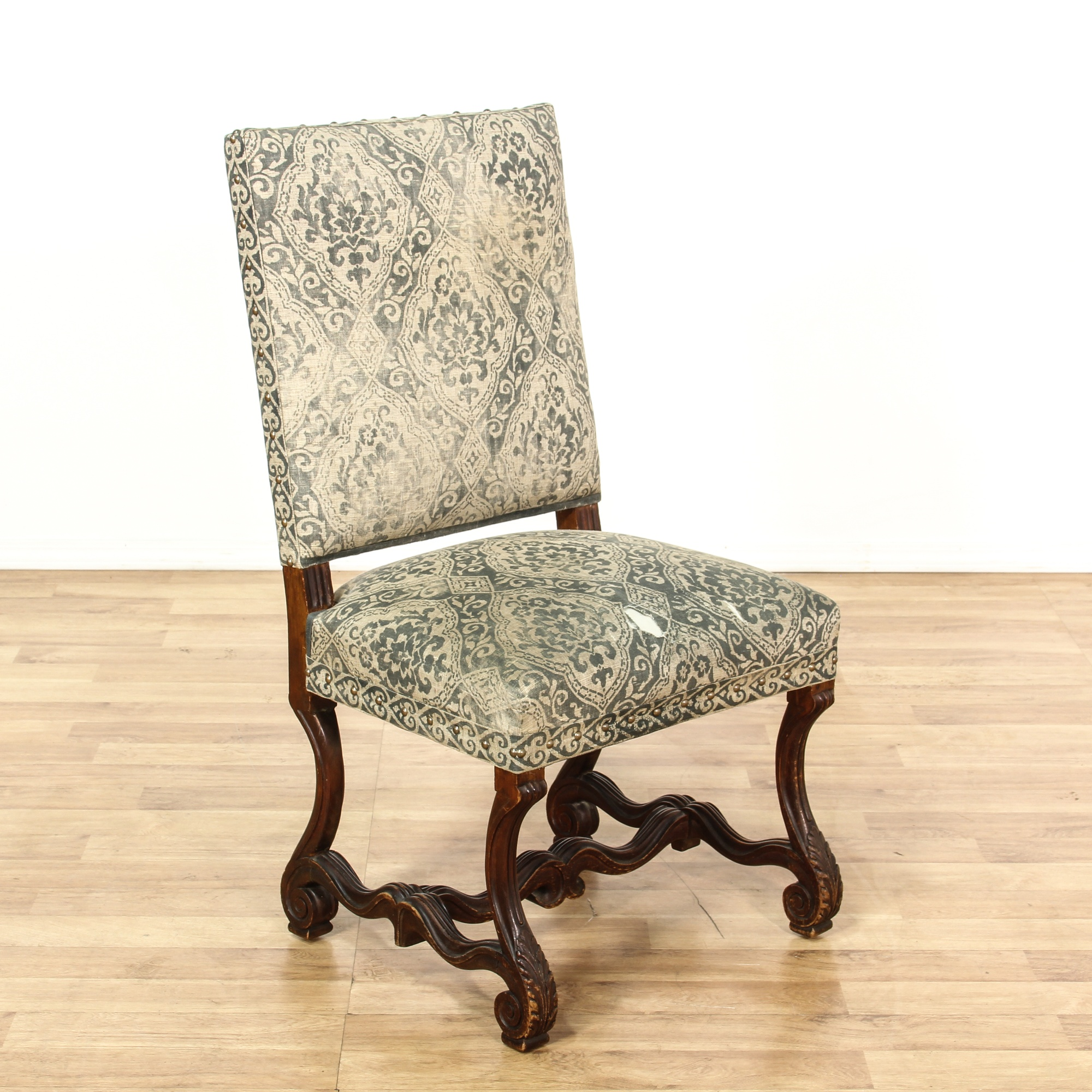 Astonishing Carved Wood Burlap Upholstered Accent Chair Loveseat Unemploymentrelief Wooden Chair Designs For Living Room Unemploymentrelieforg