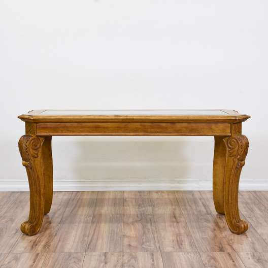 Carved Sofa Glass Top Table