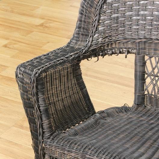 Black Wicker Patio Chair & Ottoman