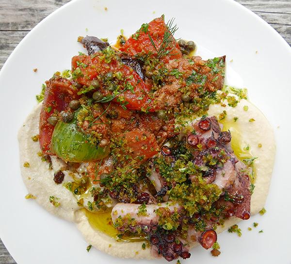 Pan-roasted octopus, aubergine,</p><p>tomato salad, chickpea purée