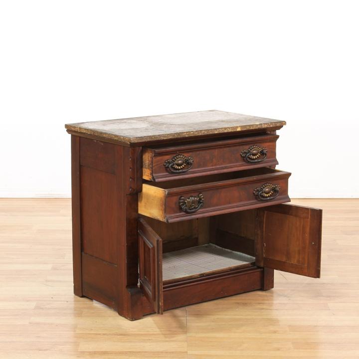 Eastlake style marble top cabinet loveseat vintage for Eastlake storage