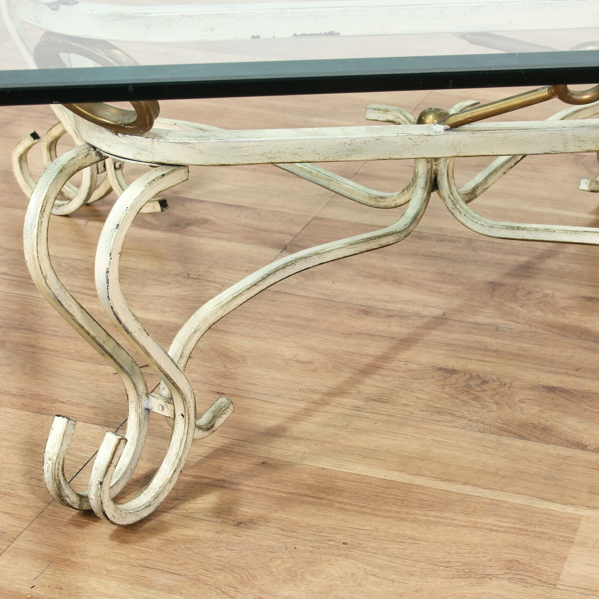 glass top metal scroll base square coffee table loveseat