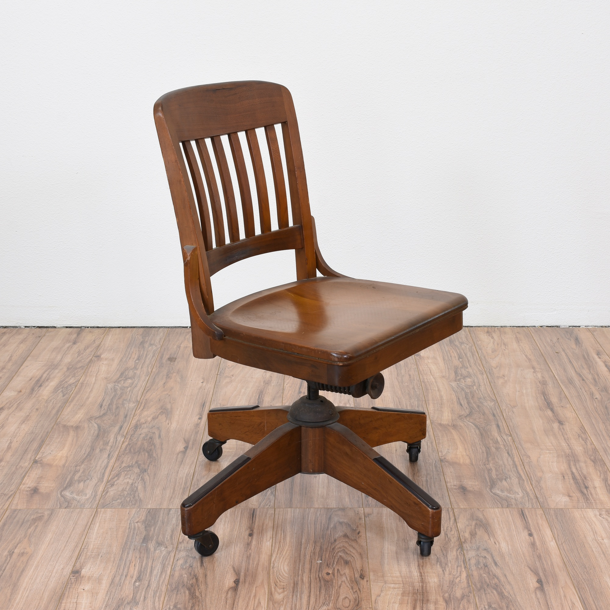 Solid Wood Office Chair W/ Casters