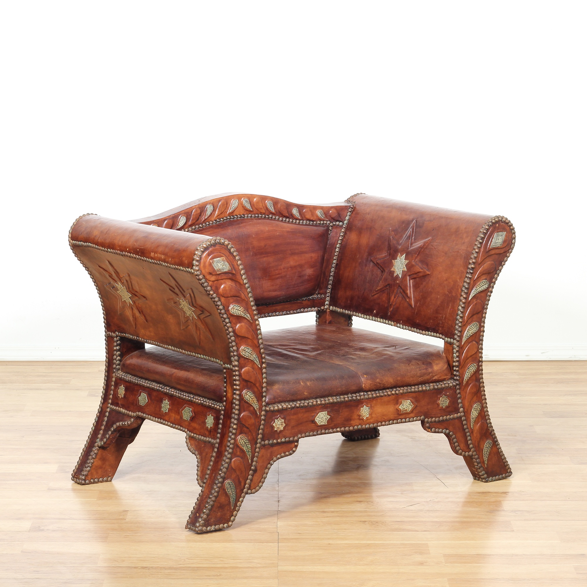 Southwestern Embossed Leather Armchair