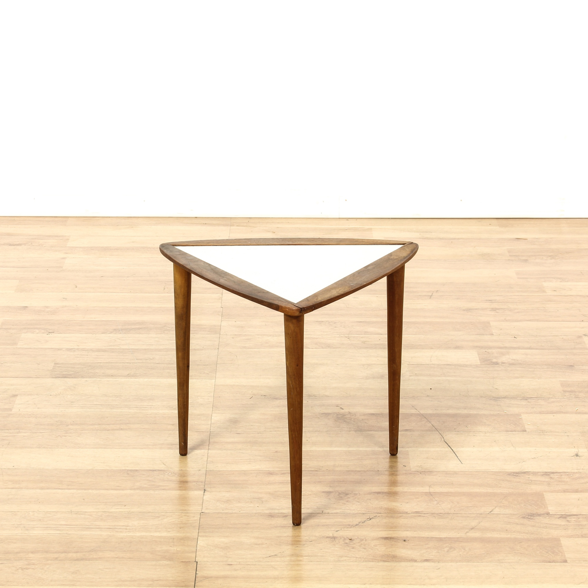 Small Mid Century Modern End Tables: Mid Century Modern Walnut Triangle End Table