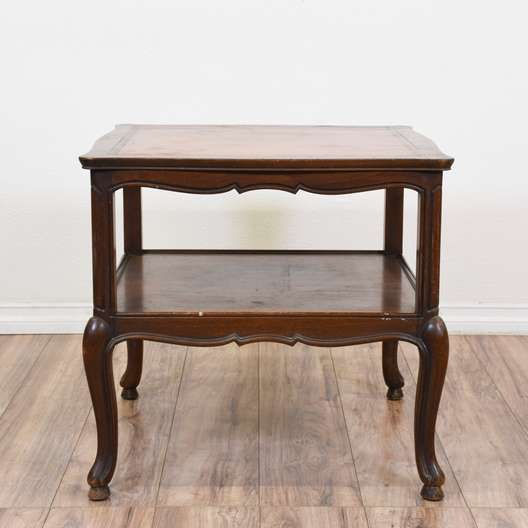 """Henredon"" Leather Top Two Tier End Table"