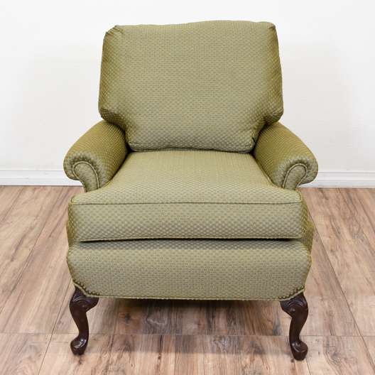 Green Print Upholstered Armchair