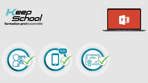 Représentation de la formation : PowerPoint préparation TOSA : cours particuliers en visio (20h) + e-learning
