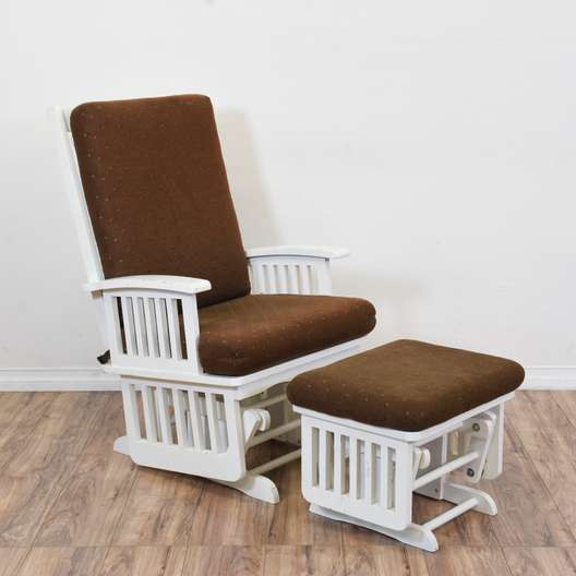 Brown & White Glider Chair and Ottoman