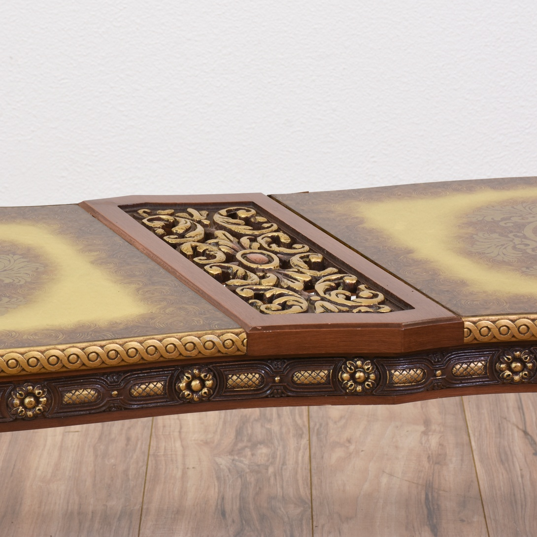 French Gold Coffee Table: Curved French Rococo Coffee Table W/ Gold Accents