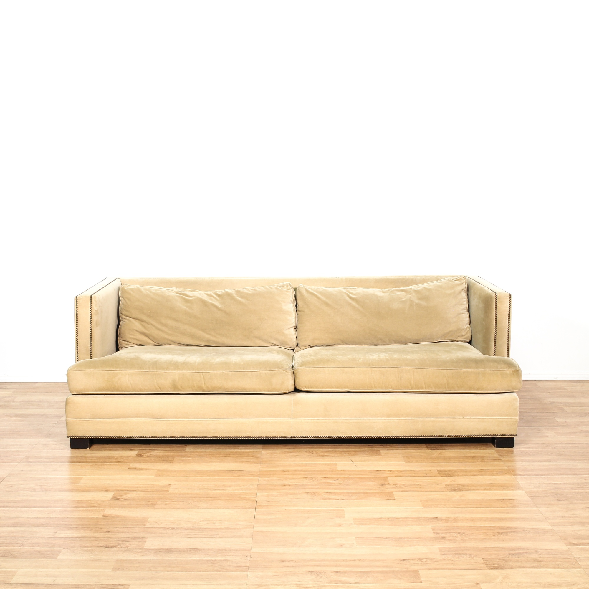 Mitchell and gold studded upholstered sofa loveseat for Studded couch