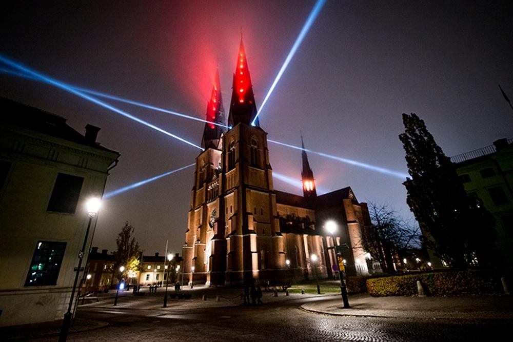 Ljusverk: Uppsala domkyrka. Ljussättare: Scenteknik. Foto: Niklas Lundengård