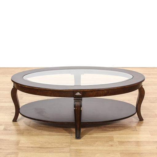 Oval Dark Stained Glass Top Coffee Table Loveseat Vintage Furniture San Diego Los Angeles