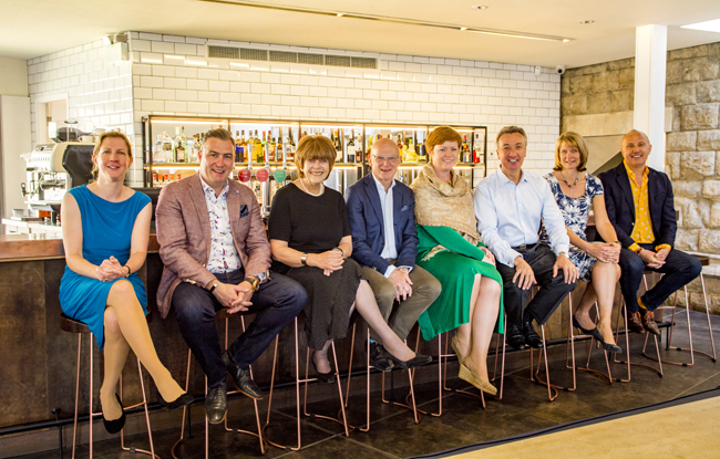 From left: Madeleine Musselwhite, Nathan Jones, Kate Martin, Tim Jones, Terry Waldron, Bill Toner, Caroline Fry and Patrick Harbour, pictured at Sargeant's Mess