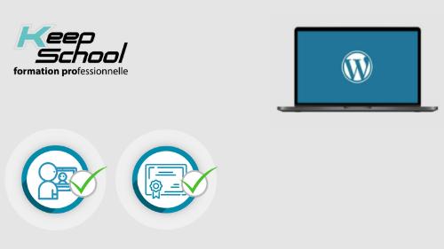 Représentation de la formation : Se former à WordPress : cours individuel en visio (20h) + TOSA Wordpress
