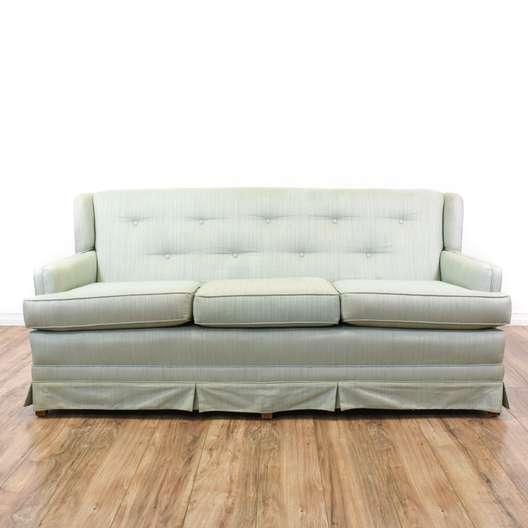 Light Blue Tufted Wingback Sofa