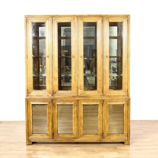 Vaisselier Etroit: Glass Front Fluted Wood China Cabinet Display Case