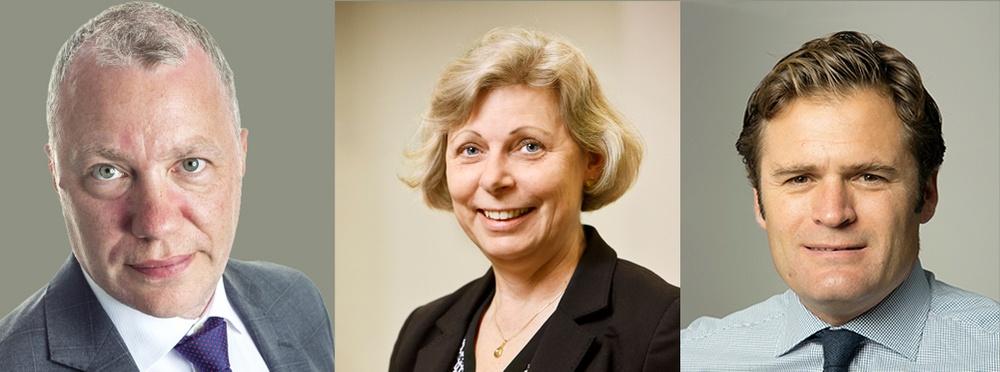 Spotlights vd Peter Gönczi, Christina Herder, ordf. SwedenBIOs arbetsgrupp för business & finance och Nasdaqs europeiska noteringschef Adam Kostyál.