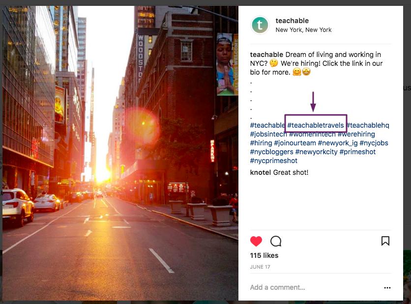 teachable hashtag for instagram